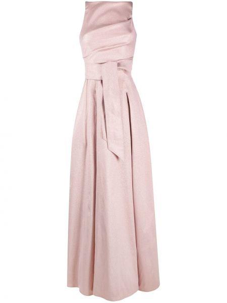 Платье с поясом розовое на молнии Talbot Runhof