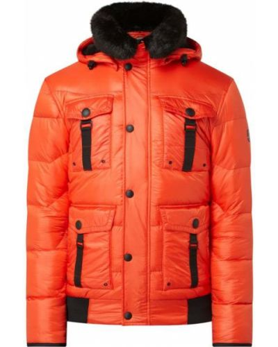 Pomarańczowy kurtka z kapturem z mankietami z futrem z kieszeniami Wellensteyn