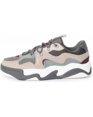 Бежевые спортивные кожаные кеды на шнуровке Termit