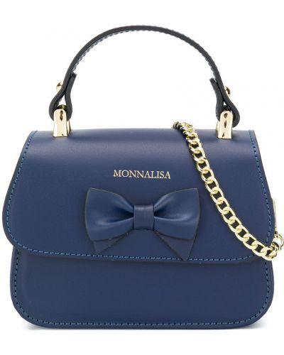 Синяя кожаная сумка-тоут на молнии Monnalisa