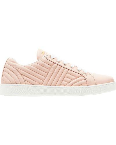 Бежевые кроссовки на шнуровке Prada