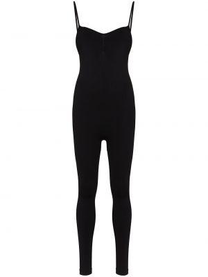 Черный спортивный комбинезон эластичный с вырезом Prism