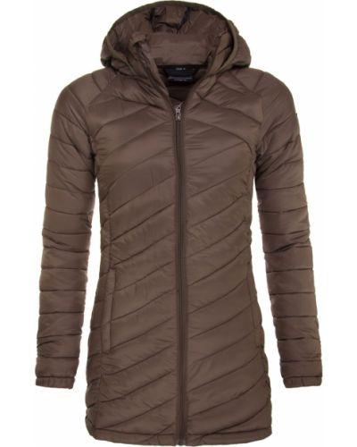 Brązowy długi płaszcz pikowany materiałowy Trimm