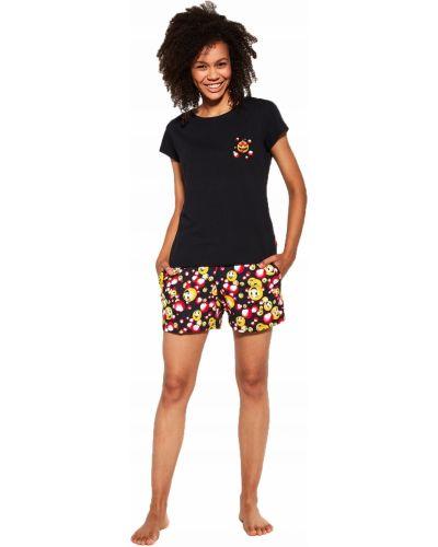 Czarna piżama bawełniana krótki rękaw Cornette