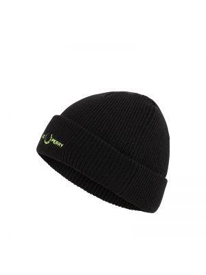 Wełniany czarny czapka baseballowa Fred Perry