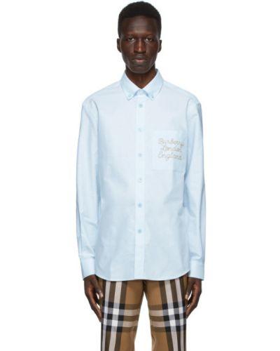 Niebieski bawełna z rękawami koszula oxford z haftem Burberry