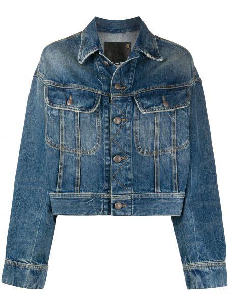 Синяя джинсовая куртка с воротником с карманами R13