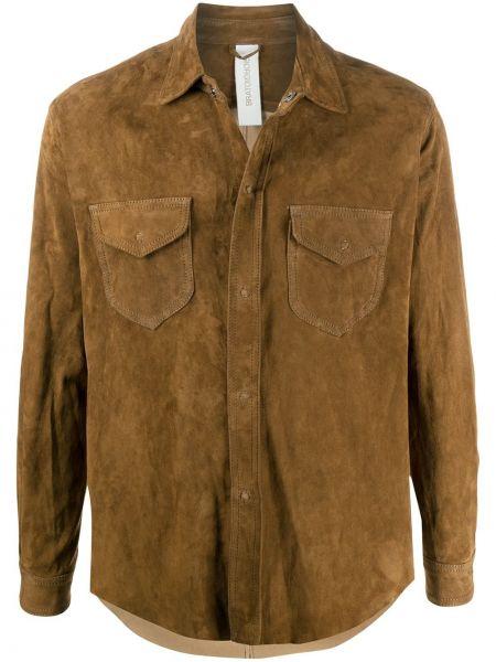 Brązowa koszula bawełniana z długimi rękawami Giorgio Brato