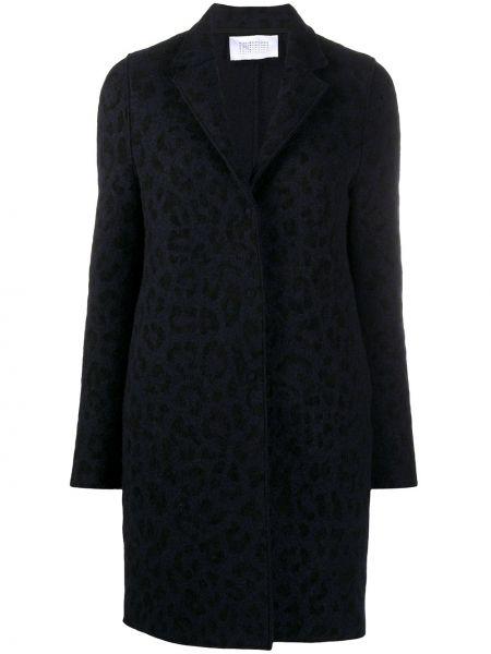 Однобортное синее шерстяное пальто на пуговицах Harris Wharf London