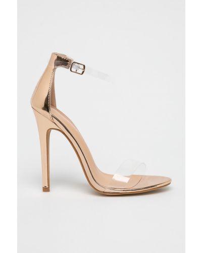 Туфли на каблуке на шпильке золотые Glamorous