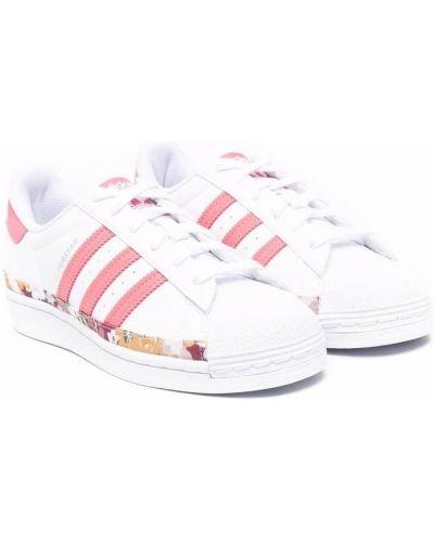 Кружевной белый кожаный топ Adidas Kids