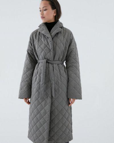 Теплое серое пальто Zarina
