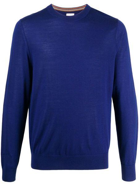 Wełniany niebieski pulower z haftem z długimi rękawami Paul Smith