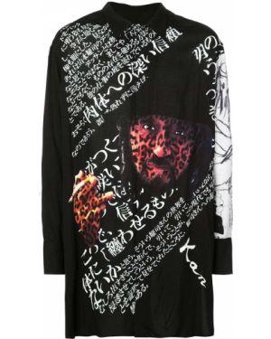 Черная классическая рубашка с воротником свободного кроя Yohji Yamamoto