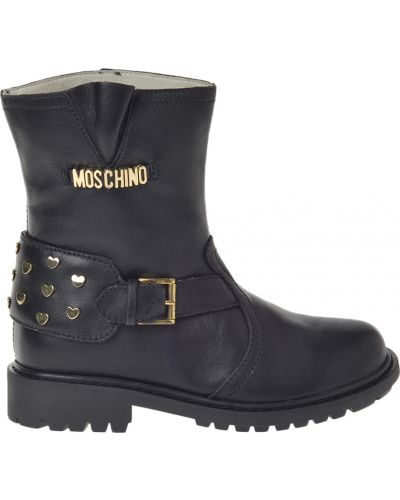 Сапоги кожаный черный Moschino