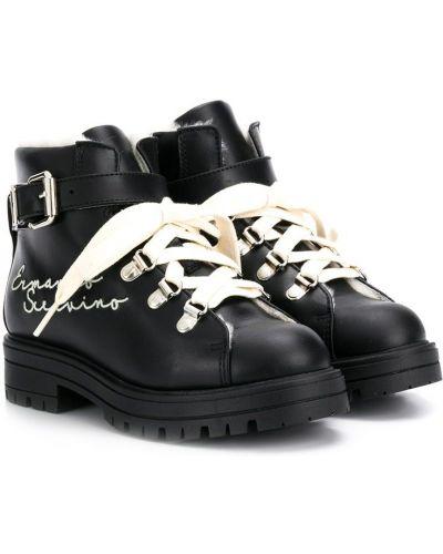 Черные ботинки на каблуке из овчины на шнурках с подкладкой Ermanno Scervino Junior