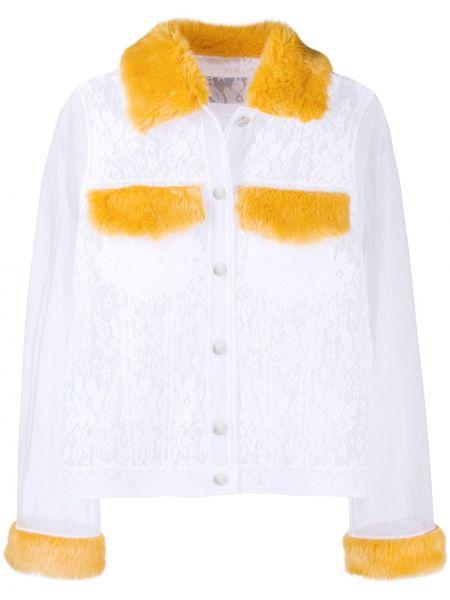 Нейлоновая белая джинсовая куртка с воротником Viktor & Rolf