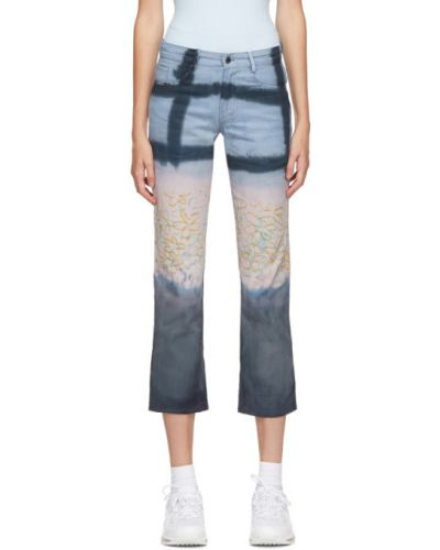 Prosto niebieski jeansy o prostym kroju z kieszeniami z siatką Collina Strada