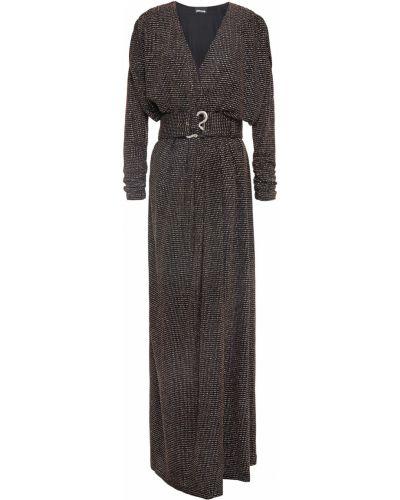 Трикотажное черное платье макси с поясом Just Cavalli