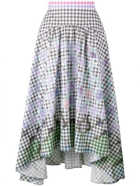 Хлопковая черная с завышенной талией юбка с оборками Peter Pilotto
