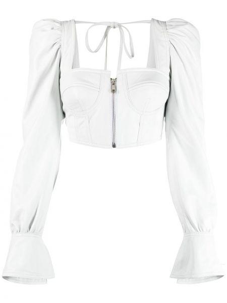 Белый кожаный топ с вырезом Manokhi