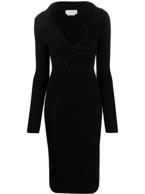 С рукавами вязаное черное платье миди Alexander Mcqueen