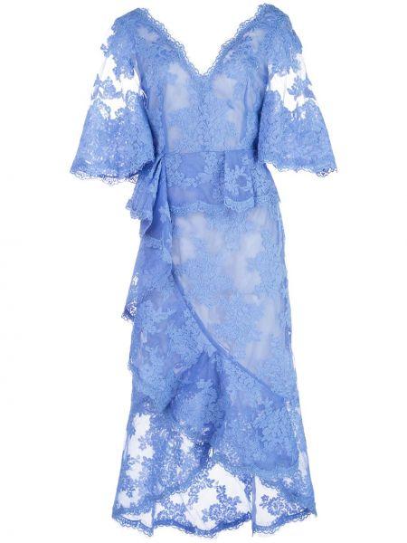 Платье мини миди с декольте Marchesa