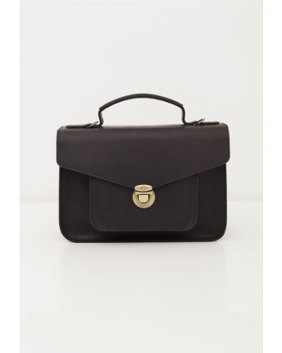 Черный кожаный портфель с карманами черешня