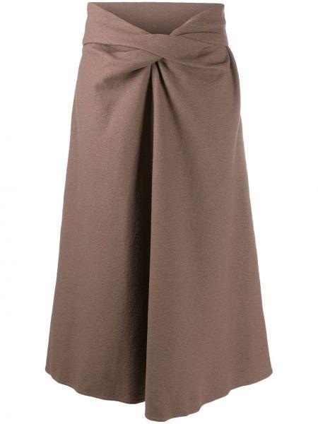 Światło brązowy wełniany z wysokim stanem spódnica midi Lemaire