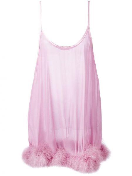 Шелковый розовый пеньюар с жемчугом Gilda & Pearl