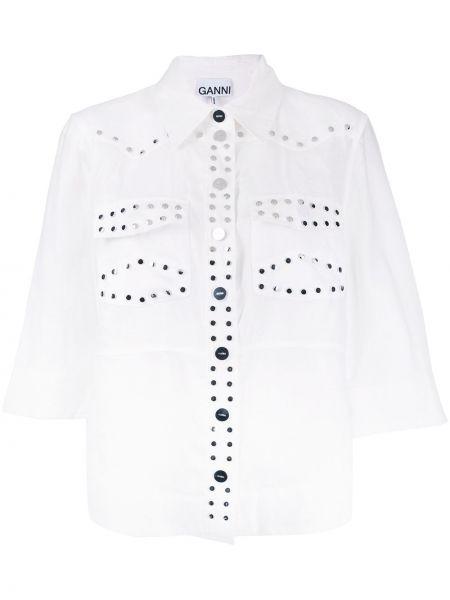 Льняная рубашка - белая Ganni