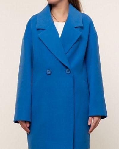 Синее пальто с воротником с карманами каляев