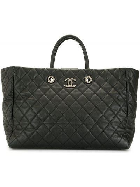 Кожаная стеганая черная сумка-тоут Chanel Pre-owned