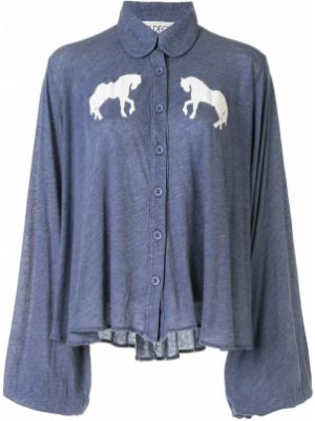 Niebieska bluzka z długimi rękawami bawełniana Wildfox