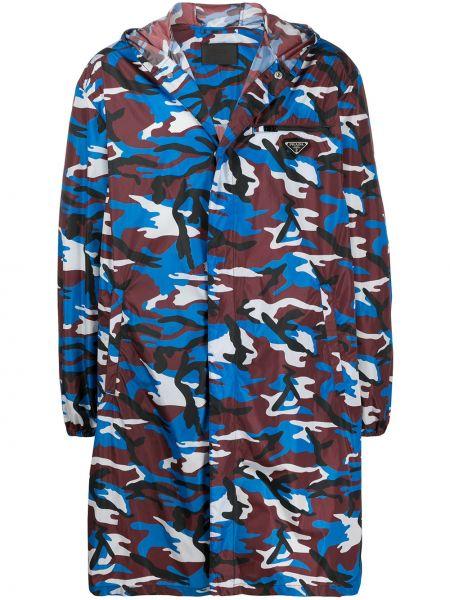 Płaszcz przeciwdeszczowy długo niebieski Prada