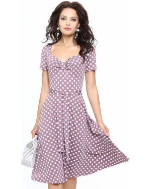 Платье с поясом с декольте винтажная Dstrend