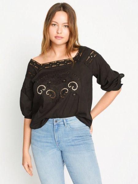Блузка с открытыми плечами черная весенний Violeta By Mango