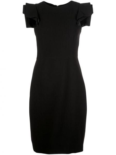 Черное прямое платье миди на молнии с вырезом Halston Heritage