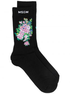 Хлопковые черные носки в рубчик Msgm