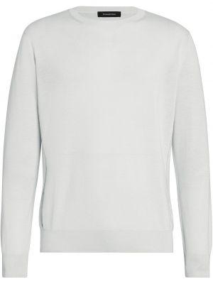 Biały pulower z jedwabiu z długimi rękawami Ermenegildo Zegna