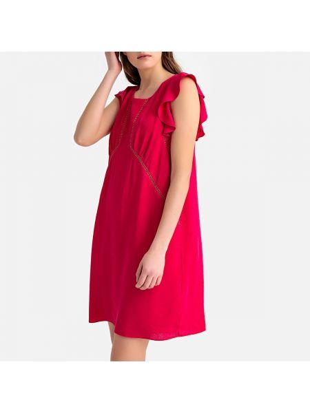 Малиновое прямое платье миди с оборками без рукавов Sud Express