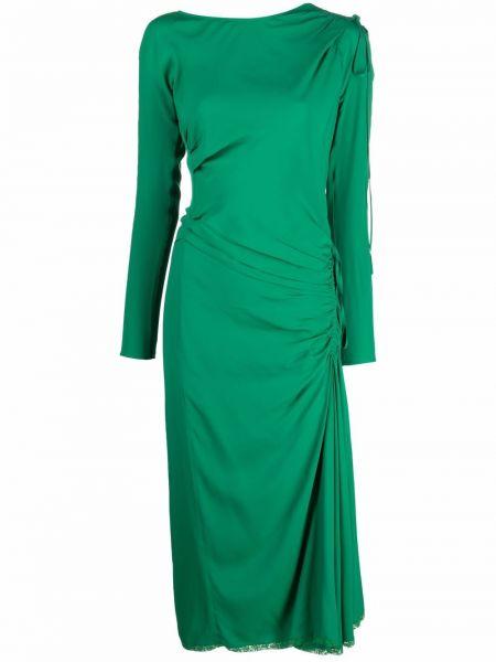 Платье миди с длинными рукавами - зеленое N°21