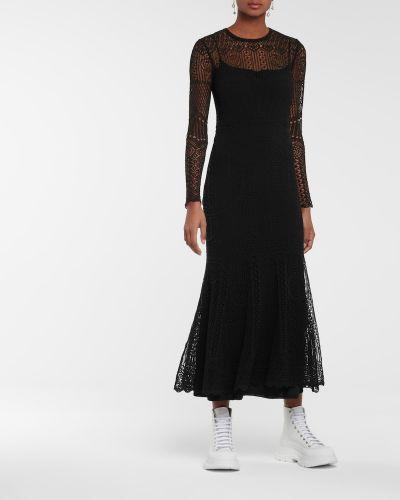 Хлопковое кружевное черное платье макси Alexander Mcqueen
