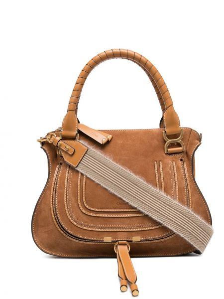 Bawełna skórzany brązowy torba na ramię prążkowany Chloe
