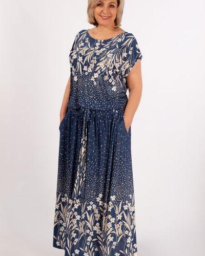 Повседневное трикотажное платье макси с поясом милада