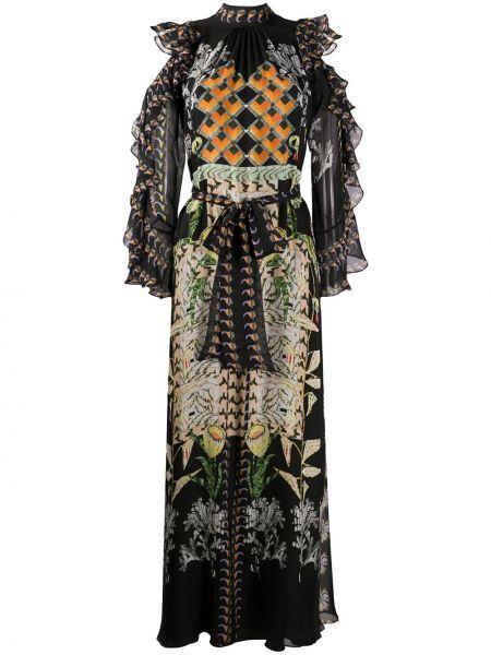 Расклешенное шелковое платье со вставками с воротником Temperley London