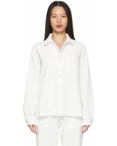 Biała koszula bawełniana z długimi rękawami z haftem Erl