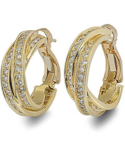 Желтые серьги-кольца с бриллиантом винтажные Cartier