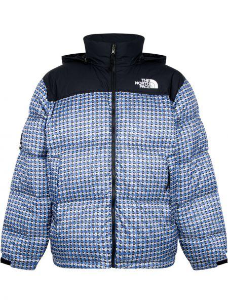 Niebieska długa kurtka z kapturem z haftem Supreme