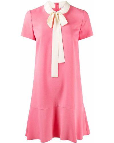 С рукавами розовое платье мини трапеция Red Valentino